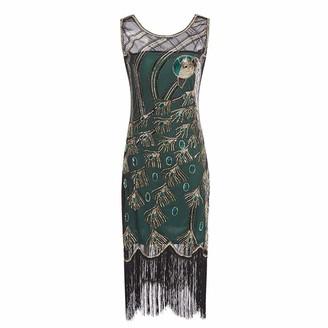 LAPLE Women Dress Sequins Slim Fit Tassel Long Evening Dress Peacock Feather Vintage Dress (Green L)