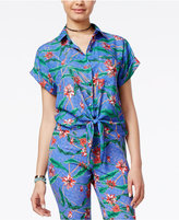SHIFT Juniors' Tie-Front Shirt, Only at Macy's