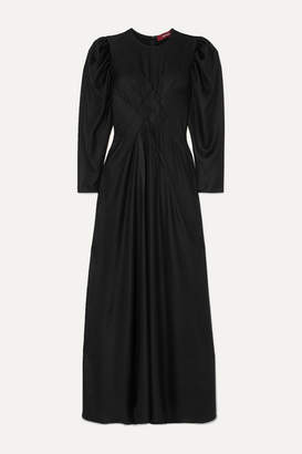Sies Marjan Virginia Pintucked Hammered-satin Maxi Dress - Black