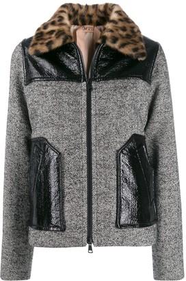 No.21 leopard print collar tweed jacket
