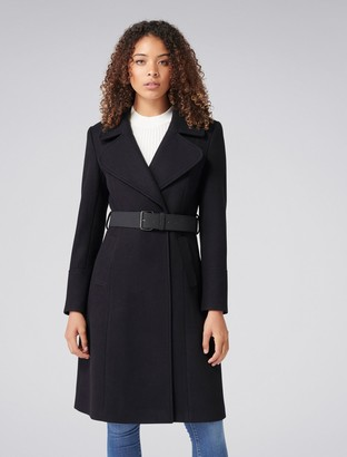 Forever New Stephanie Belted Fit and Flare Coat - Black - 16