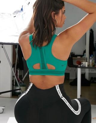 Nike Training Swoosh high support bra in green