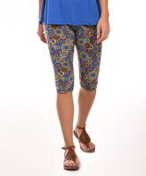 Blue & Yellow Geometric Capri Leggings - Plus