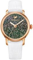 Swarovski Women's Swiss Crystalline Hours White Leather Strap Watch 38mm