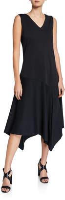 Joan Vass Petite V-Neck Tank Dress with Asymmetric Hem