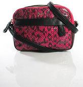 Diane von Furstenberg Pink Small Faux Snakeskin Trim Shoulder Handbag