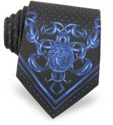 Versace Polkadots & Medusa Printed Silk Tie