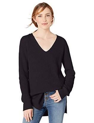 Goodthreads Cotton Half-Cardigan Stitch Deep V-Neck Sweater Pullover, Light Grey Heather, L