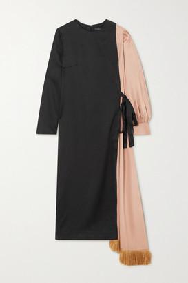 Mother of Pearl Louise Asymmetric Paneled Fringed Lyocell Midi Dress - Black