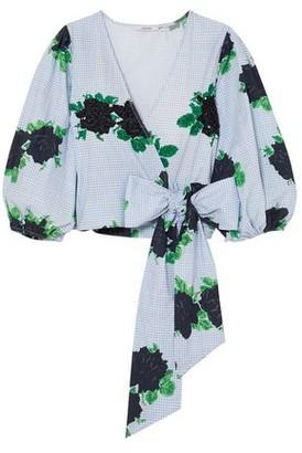 Ganni Pine Embellished Printed Cotton-poplin Wrap Top