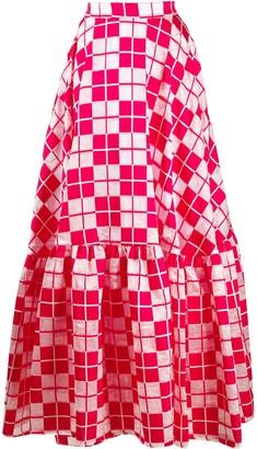 Plan C Checked Full Skirt