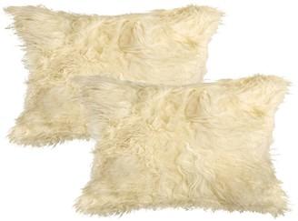 "Natural Mongolian Genuine Sheepskin Pillow - Set of 2 - 12"" x 20"" - Tan"