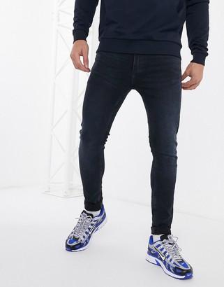 Topman spray on jeans in dark blue wash