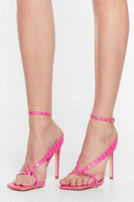 Nasty Gal Womens Thong Time Coming Strappy Stiletto Heels - Pink - 3