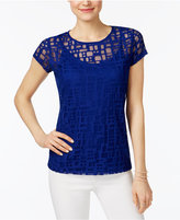 INC International Concepts Petite Deco Squares Illusion Top, Only at Macy's