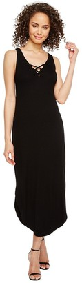Michael Stars Women's 2x1 Rib Front to Back Lace up Midi Dress