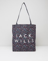 Jack Wills Ambleshire Book Bag In Navy Ditsy Floral