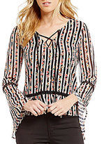 Buffalo David Bitton Floral Striped Lace-Up Bell-Sleeve Top
