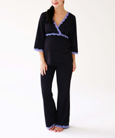 Belabumbum Black & Lilac Polka Dot Tunic & Lounge Pants