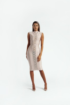 Made By Issae The 'Lola' Sleeveless Bandage Midi Dress in Nude