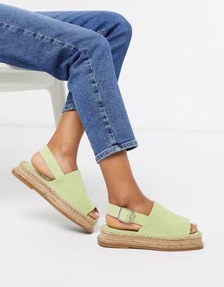 ASOS DESIGN Hannah suede flatform espadrilles in pastel green
