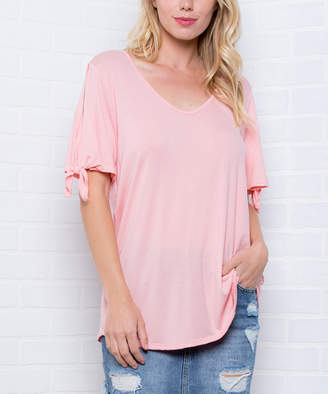 Blush B-Lush Acting Pro Women's Tee Shirts Blush - Blush Tie-Sleeve V-Neck Top - Women