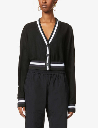 None Logo-embroidered cropped stretch-knit cardigan