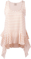 Nude striped soft peplum vest - women - Cupro - 40