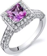 Ice 1 CT TW Lab-Created Pink Sapphire Sterling Silver Halo Fashion Ring with CZ Accents