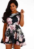Pink Boutique CURVE Madelyn Black Floral Dip Hem Skater Dress