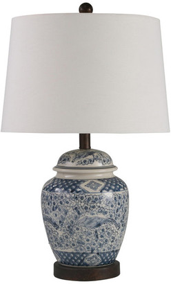 "Sagebrook Home Ceramic 24"" Ginger Jar Table Lamp, Blue and White"