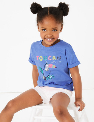 Marks and Spencer Cotton Sequin Toucan T-Shirt (2-7 Years)