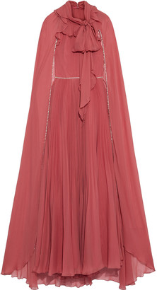 Jenny Packham Cape-back Crystal-embellished Pleated Chiffon Gown