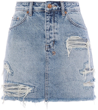 Ksubi Distressed Denim Mini Skirt