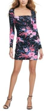 GUESS Square-Neck Floral-Print Bodycon Dress