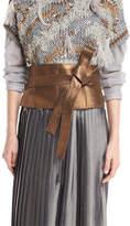 Brunello Cucinelli Metallic Leather Corset Belt