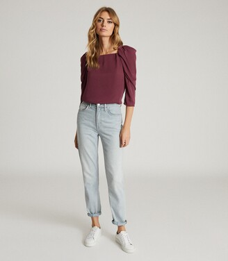 Reiss Isabelle - Ruched Sleeve Straight Neck Top in Berry
