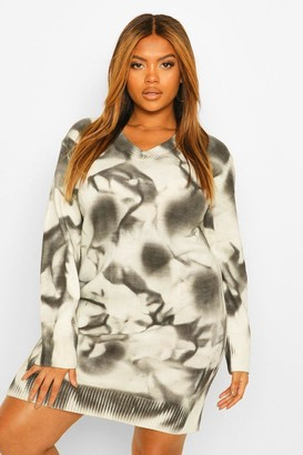 boohoo Plus Marble Print Knitted Sweater Dress