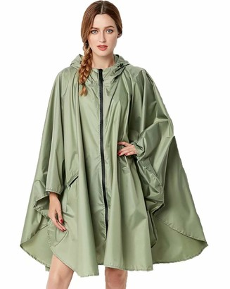 Nuur Women's Rain Poncho Jacket Waterproof Lightweight Reusable Hiking Rain Coat Jacket with Hood for Bicycle Moto Green