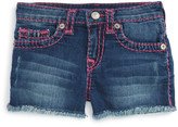 True Religion &Joey Super T& Raw Edge Denim Shorts (Toddler Girls & Little Girls)