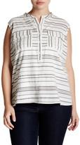 Caslon Sleeveless Stripe Two-Pocket Shirt (Plus Size)