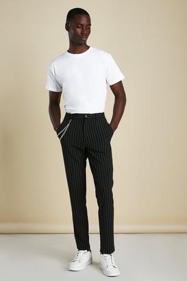boohoo Mens Black Stripe Chain Detail Smart Trousers, Black