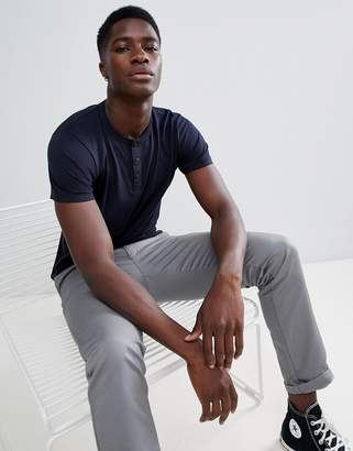 French Connection Henley Neck T-Shirt-Navy