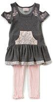 Flapdoodles Little Girls 2T-6X Lace Detail Drop Waist Dress & Ribbed Leggings Set