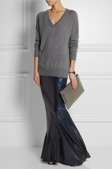 Donna Karan Sequined stretch-jersey maxi skirt