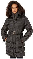 Via Spiga 3/4 Belted Ruched Puffer (Black) Women's Clothing