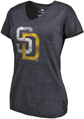 Women's Fanatics Branded Heathered Navy San Diego Padres Primary Distressed Team Tri-Blend V-Neck T-Shirt