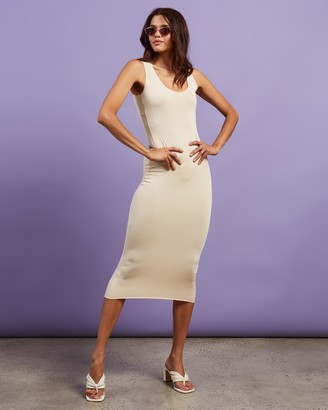 Missguided Women's Neutrals Midi Dresses - Slinky Racer Midi Dress - Size 10 at The Iconic
