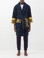 Thumbnail for your product : Versace I Love Baroque Logo-jacquard Cotton Bathrobe - Navy