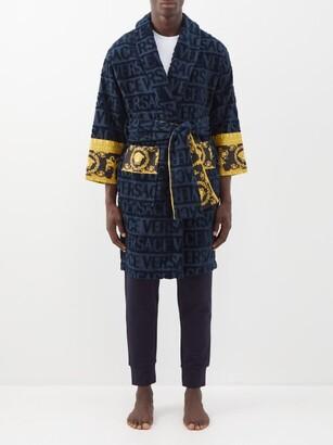 Versace I Love Baroque Logo Jacquard Cotton Bathrobe - Mens - Navy